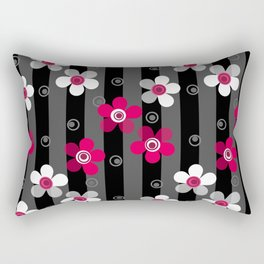 Crimson and white flowers on a black striped background Rectangular Pillow