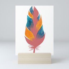 a feather with oil painting in the color of the hole Mini Art Print