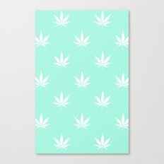 Turquoise Mermaid Mint Cannabis Pot Leaf Pattern Canvas Print