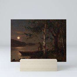 Shore of the Lake at Full Moon landscape painting by Magnus Munsterhjelm Mini Art Print