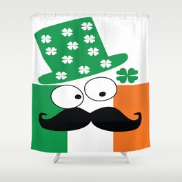 Irish mustache man st.Patty's day Shower Curtain