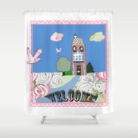 welcome Shower Curtains featuring Welcome by KarenHarveyCox