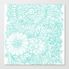 Artistic teal white hand painted floral pattern Canvas Print