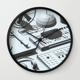 Low Poly Studio Objects 3D Illustration Grey Wall Clock