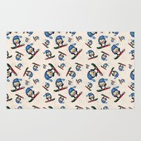 snowboard Area & Throw Rugs featuring Too Cool to Penguin by Schwebewesen • Romina Lutz