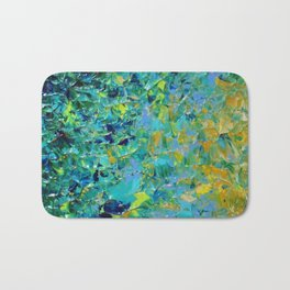 BEAUTY BENEATH THE SURFACE - Stunning Ocean River Water Nature Green Blue Teal Yellow Aqua Abstract Bath Mat