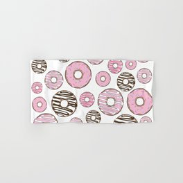 Pattern Of Donuts, Sprinkles, Icing - Pink White Hand & Bath Towel