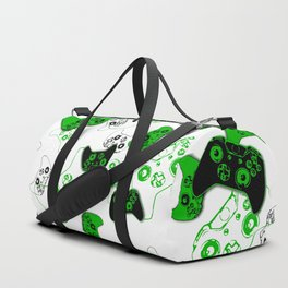 Video Game White and Green Duffle Bag