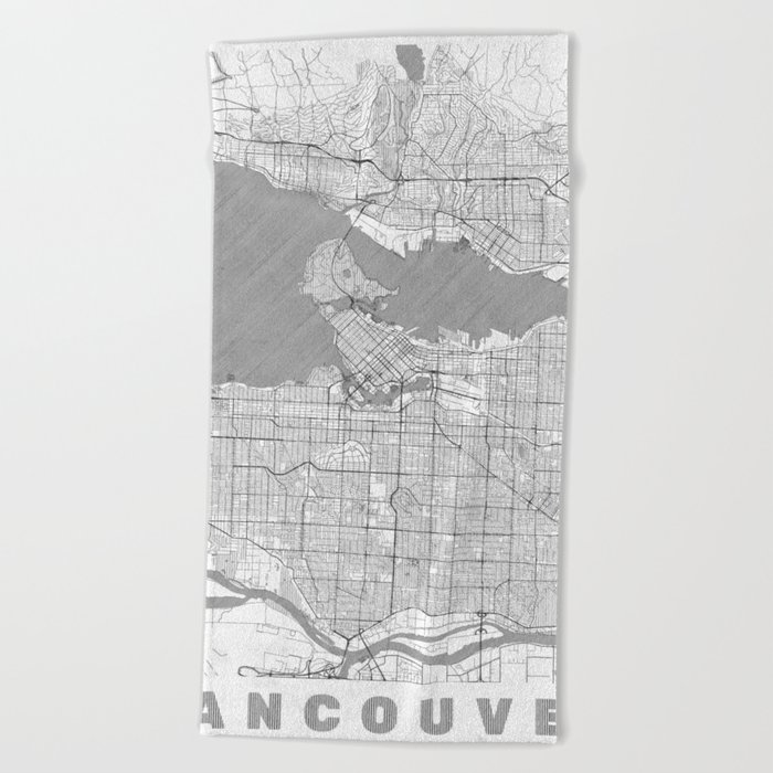 Vancouver Map Line Beach Towel