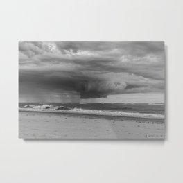 Thunderstorm Passing By Cloudy Sky Hvide Sande Beach Denmark 3 bw Metal Print