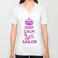 keep calm V-neck T-shirts featuring KEEP CALM by Lonica Photography & Poly Designs