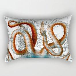 Octopus Tentacles Vintage Map Nautical Rectangular Pillow