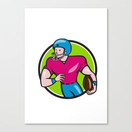 American Football Receiver Running Circle Cartoon Canvas Print