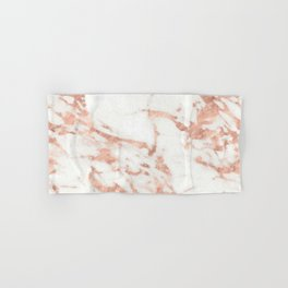 Marble - Metallic Rose Gold Marble Pattern Hand & Bath Towel
