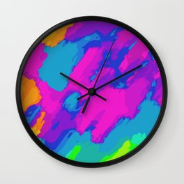 pink blue green and orange painting abstract background Wall Clock