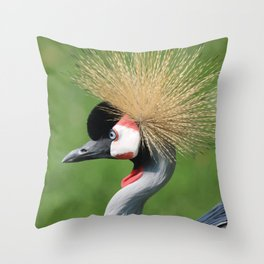 Crowned Crane Head Illustration Graphic Throw Pillow
