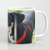 doberman Mugs featuring Doberman by Ornithology