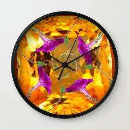 Sherry Topaz Gem & Purple Morning Glories Design Wall Clock