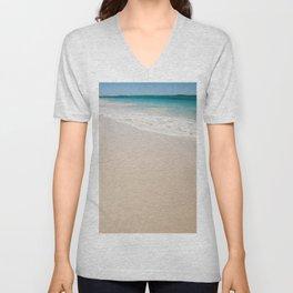 white sandy beach Unisex V-Neck