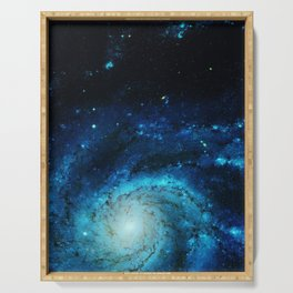 Teal Pinwheel Galaxy Serving Tray