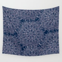 Modern navy blue blush pink watercolor floral mandala Wall Tapestry