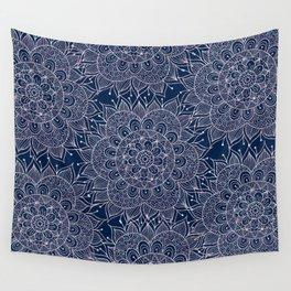 Modern navy blue blush pink watercolor floral mandala Wall Tapestry
