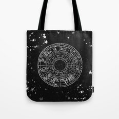 Black and White Vintage Star Map Tote Bag