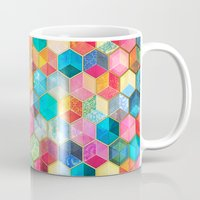 bohemian Mugs featuring Crystal Bohemian Honeycomb Cubes - colorful hexagon pattern  by micklyn