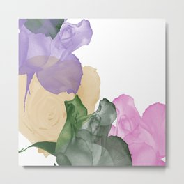 Pretty Pastel Roses on White Background Metal Print