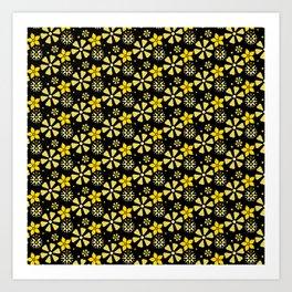 Floral Pattern in Black Art Print
