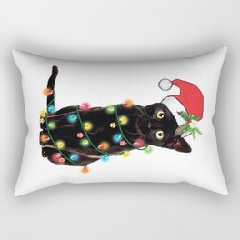 Santa Black Cat Tangled Up In Lights Christmas Santa Graphic Rectangular Pillow