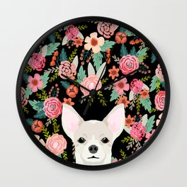 Chihuahua face floral dog breed cute pet gifts pure breed dog lovers chihuahuas Wall Clock