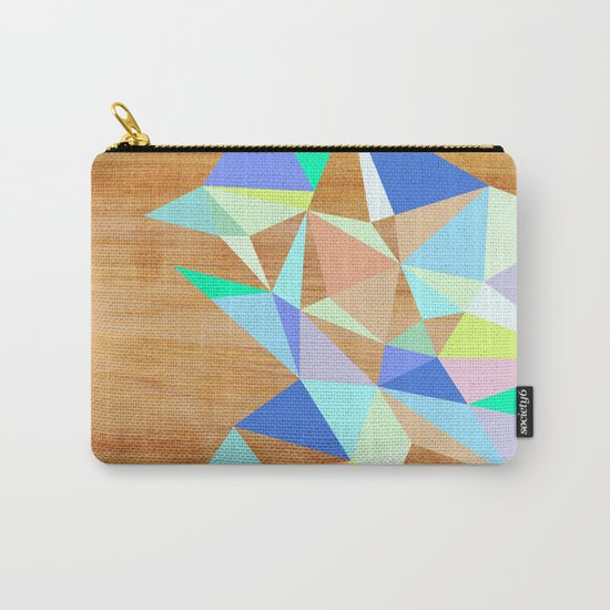 Wooden Geo Aqua Carry-All Pouch