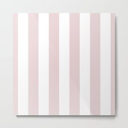 Alice Pink and White Wide Vertical Cabana Stripes Metal Print