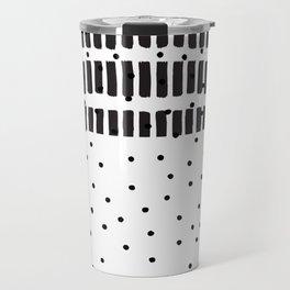 Modern black white  watercolor brushstrokes polka dots Travel Mug