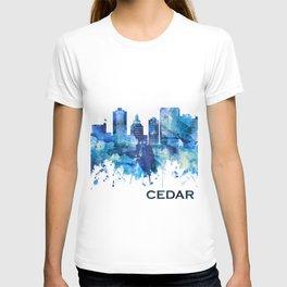 Cedar Rapids Iowa Skyline Blue T-shirt