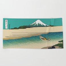 Tama River and Mount Fuji Beach Towel