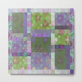 Lotus flower purple and lime green stitched patchwork - woodblock print style pattern Metal Print