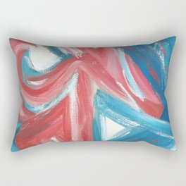 Experimental - Abstract painting in modern bright blue contrasting with red Rectangular Pillow