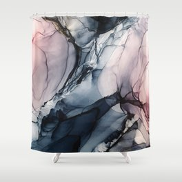 Blush, Navy and Gray Abstract Calm Clouds Shower Curtain