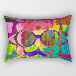old vintage funny skull art portrait with painting abstract background in red pink yellow green blue Rectangular Pillow