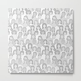 Together Strong - Soft Pastel Grey Women Power Metal Print