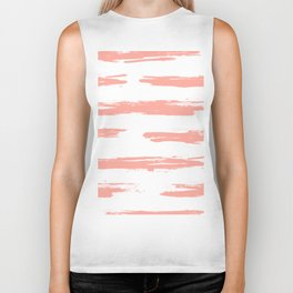Pretty Pink Brush Stripes Horizontal Biker Tank