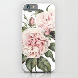 Pink Garden Roses Watercolor iPhone Case