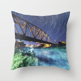 Star Trails Over The Railroad Throw Pillow