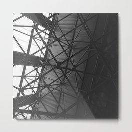#144Photo #158 The #Strenght of #Structures / #Roof #Warehouse #Triangles #BlackAndWhite #Light Metal Print