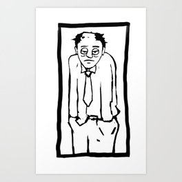 Bored worker rutine job life comic Art Print