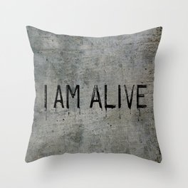 I AM ALIVE - Black - Detroit: Become Human Deviant Writing Throw Pillow