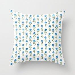 bluebutton wildflowers Throw Pillow