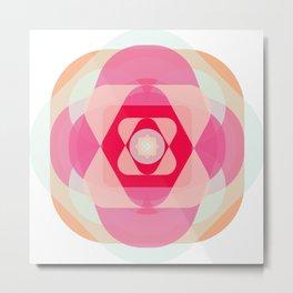 Yoga Mandala with Mustard Metal Print